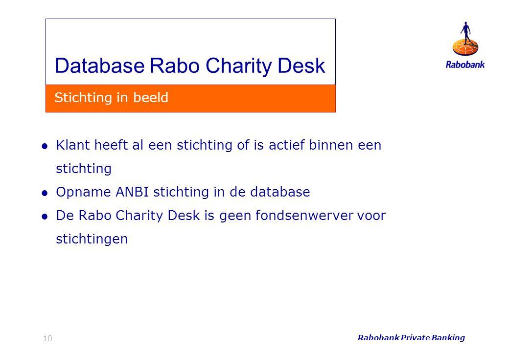 Database Rabo Charity Desk