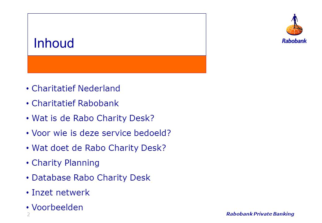 Inhoud Inhoud Charitatief Nederland Charitatief Rabobank