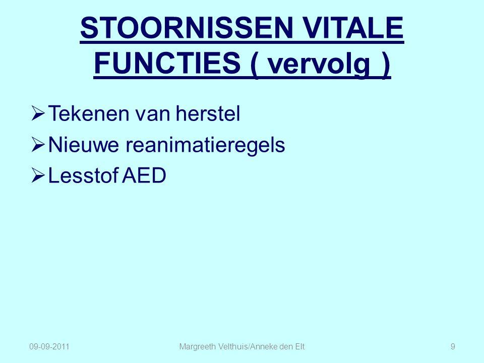 STOORNISSEN VITALE FUNCTIES ( vervolg )