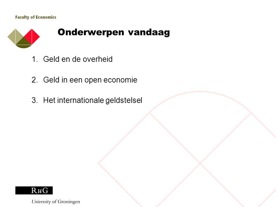 Onderwerpen vandaag Geld en de overheid Geld in een open economie
