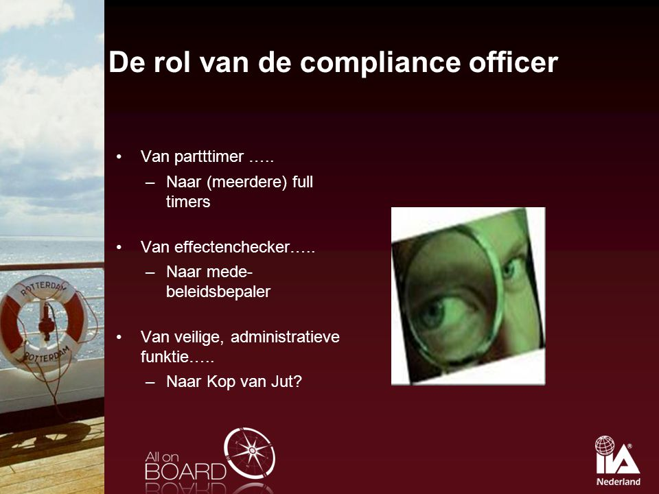 De rol van de compliance officer