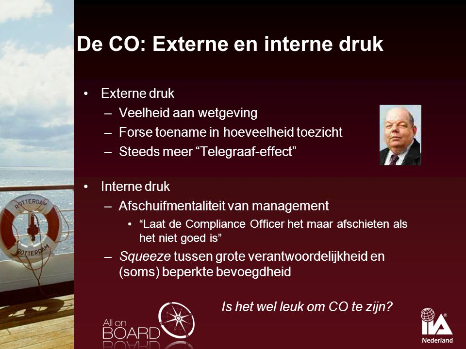 De CO: Externe en interne druk
