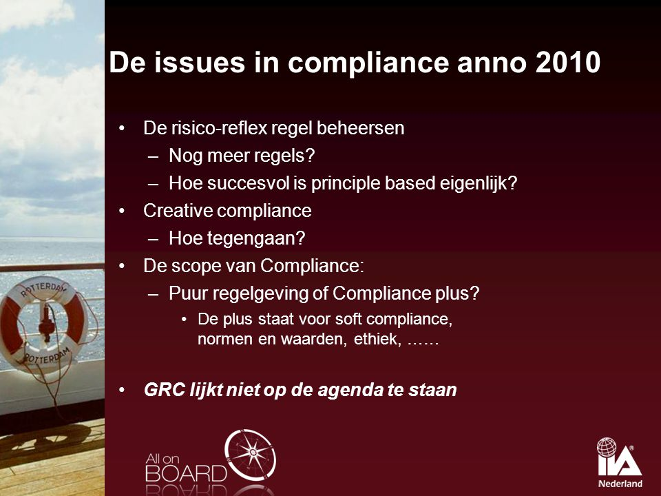 De issues in compliance anno 2010