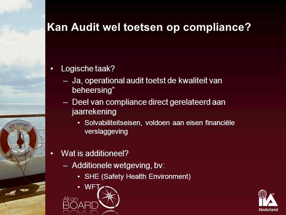 Kan Audit wel toetsen op compliance