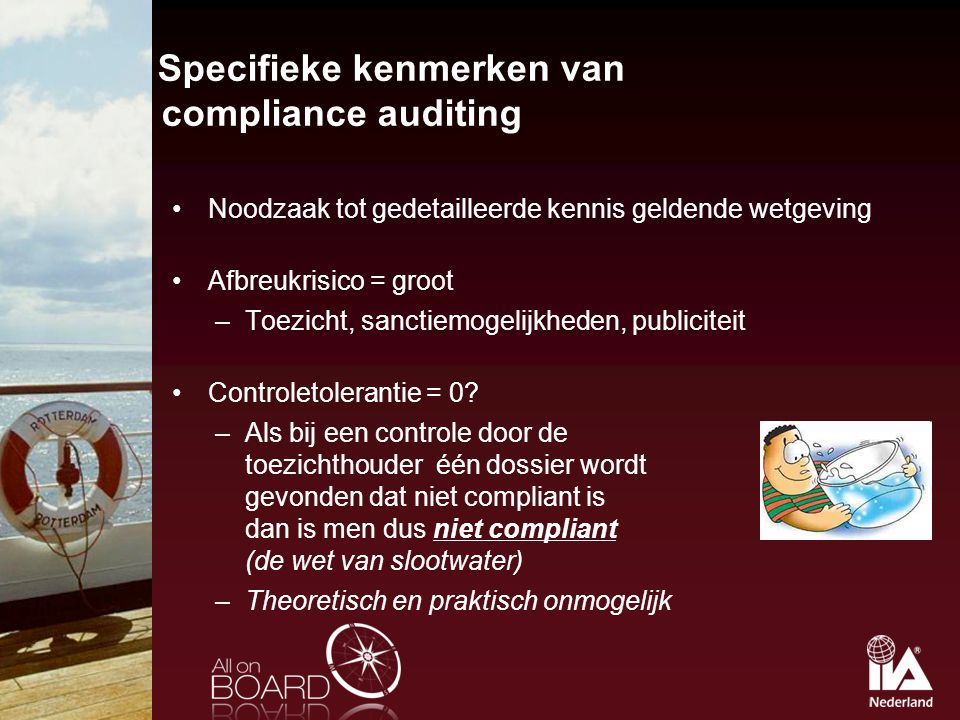 Specifieke kenmerken van compliance auditing