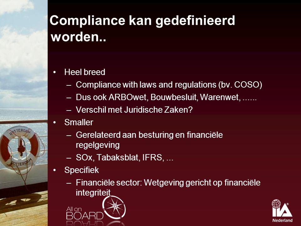 Compliance kan gedefinieerd worden..