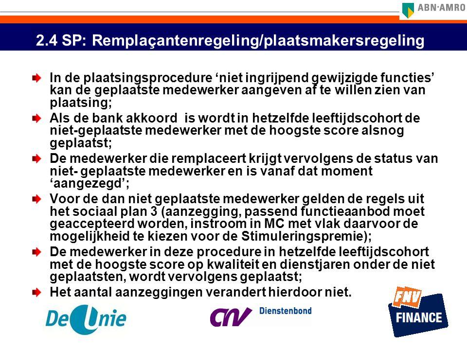 2.4 SP: Remplaçantenregeling/plaatsmakersregeling