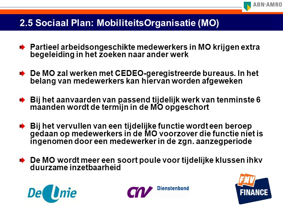 2.5 Sociaal Plan: MobiliteitsOrganisatie (MO)