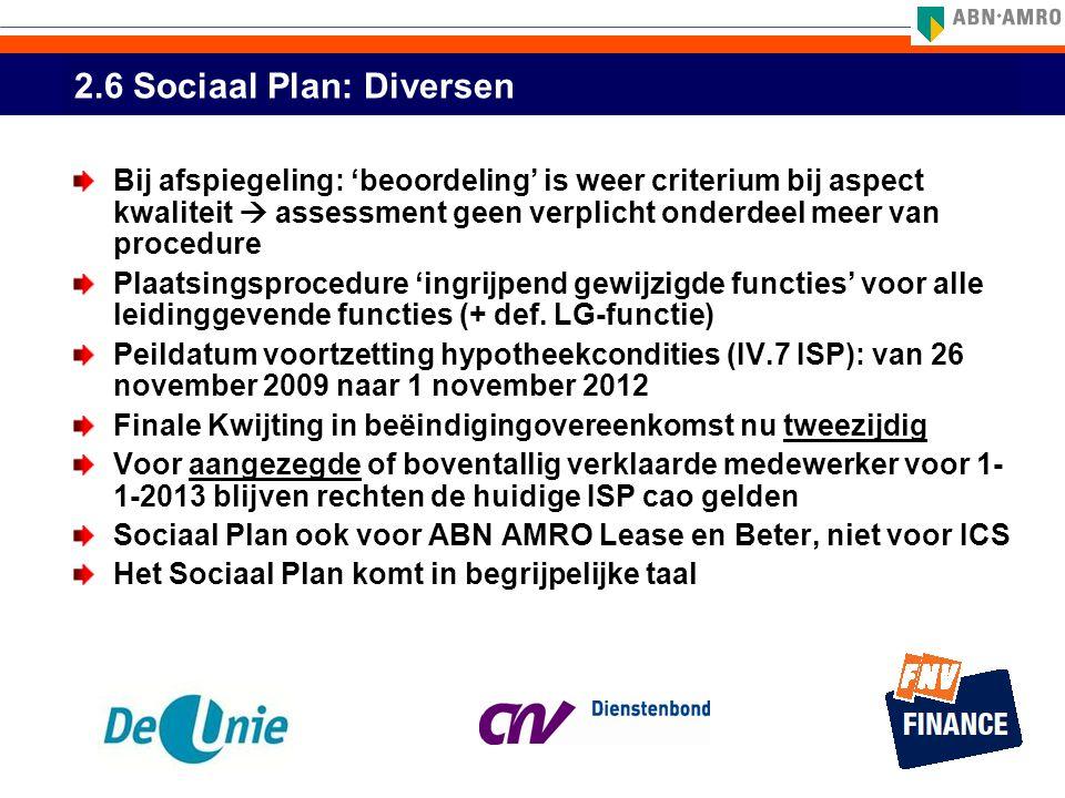 2.6 Sociaal Plan: Diversen