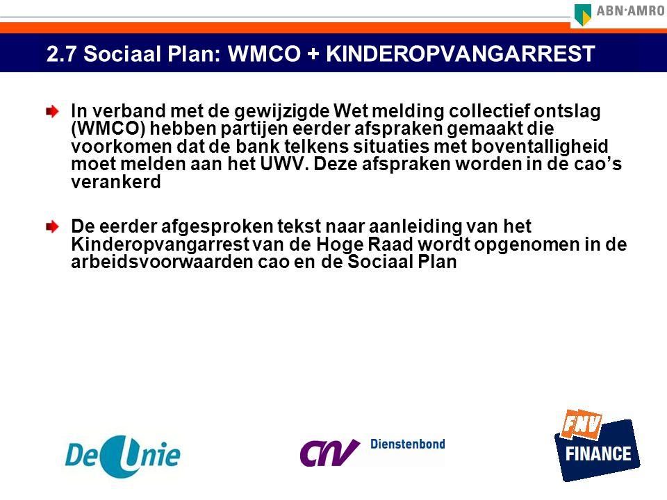 2.7 Sociaal Plan: WMCO + KINDEROPVANGARREST
