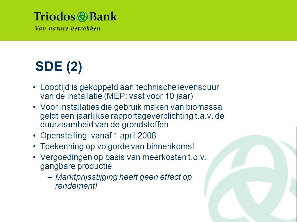 SDE (2) Looptijd is gekoppeld aan technische levensduur van de installatie (MEP: vast voor 10 jaar)