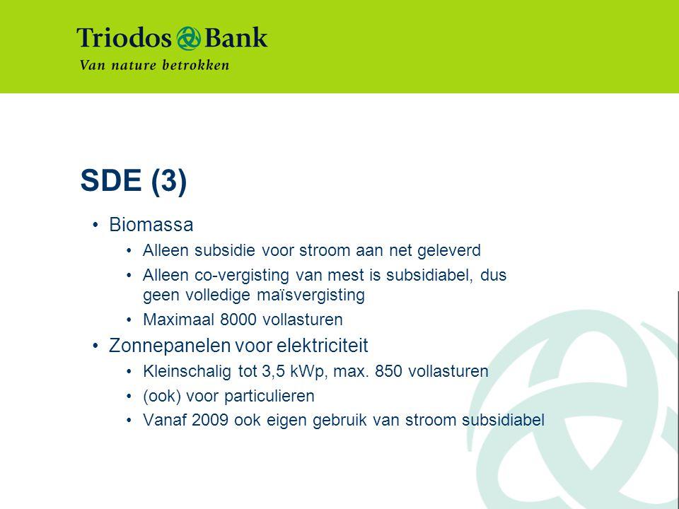 SDE (3) Biomassa Zonnepanelen voor elektriciteit