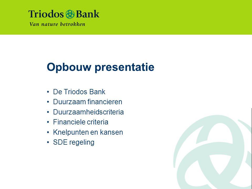 Opbouw presentatie De Triodos Bank Duurzaam financieren