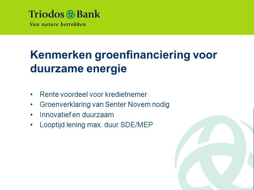 Kenmerken groenfinanciering voor duurzame energie