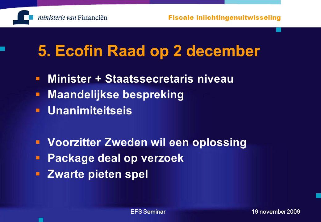 5. Ecofin Raad op 2 december