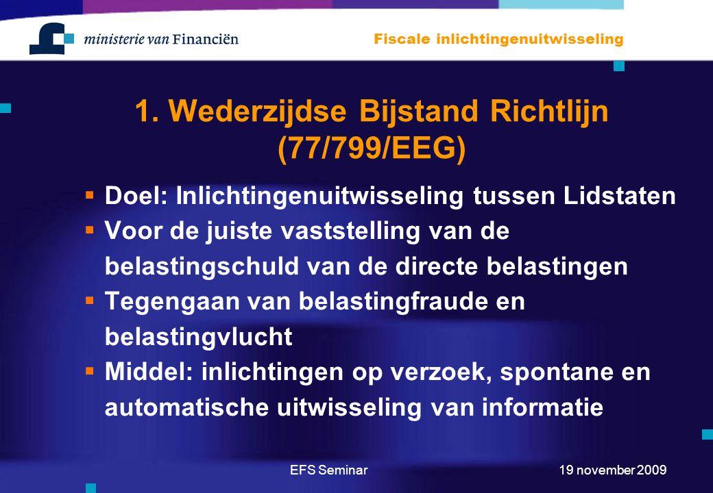 1. Wederzijdse Bijstand Richtlijn (77/799/EEG)