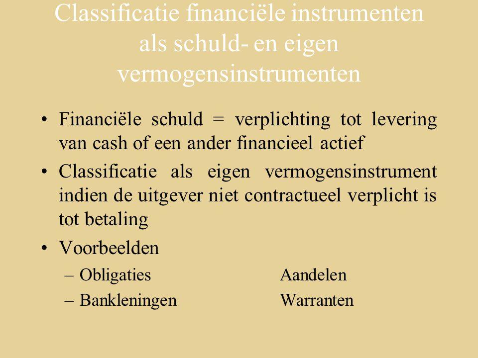 Classificatie financiële instrumenten als schuld- en eigen vermogensinstrumenten