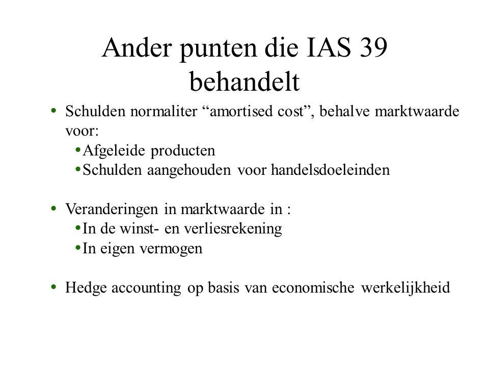 Ander punten die IAS 39 behandelt