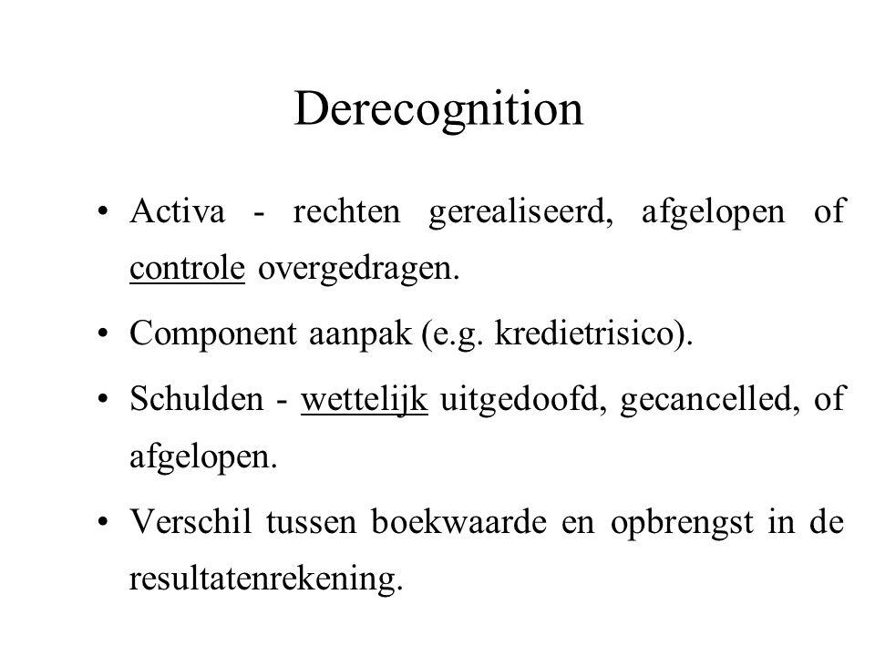 Derecognition Activa - rechten gerealiseerd, afgelopen of controle overgedragen. Component aanpak (e.g. kredietrisico).
