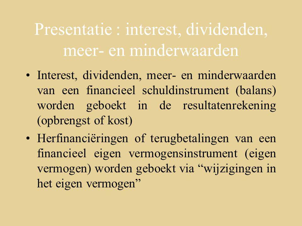 Presentatie : interest, dividenden, meer- en minderwaarden