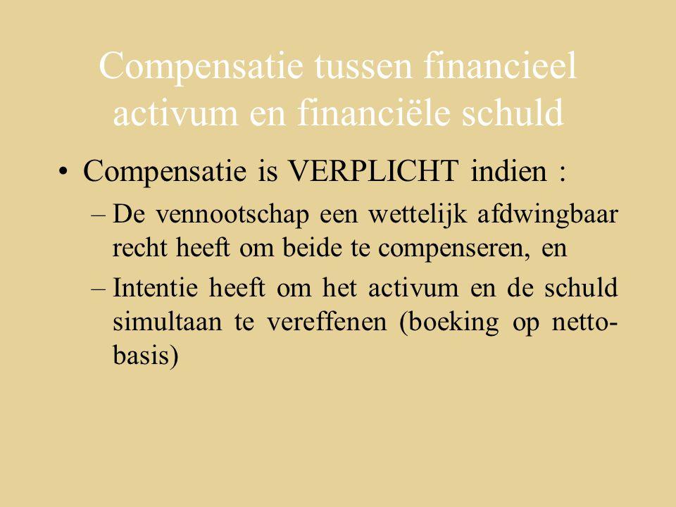 Compensatie tussen financieel activum en financiële schuld