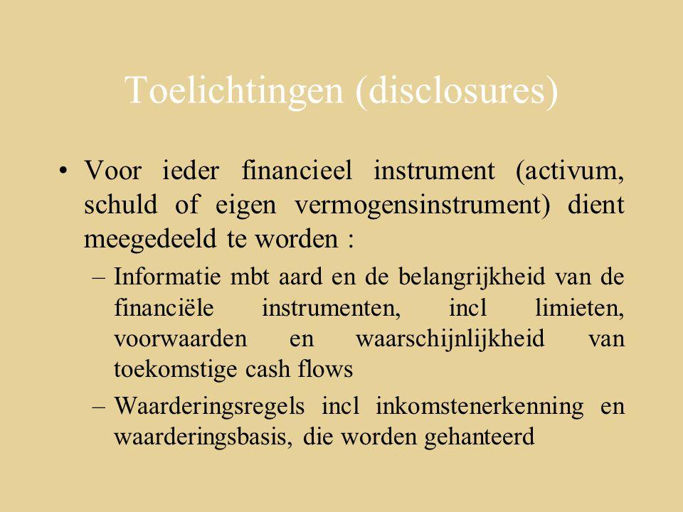 Toelichtingen (disclosures)