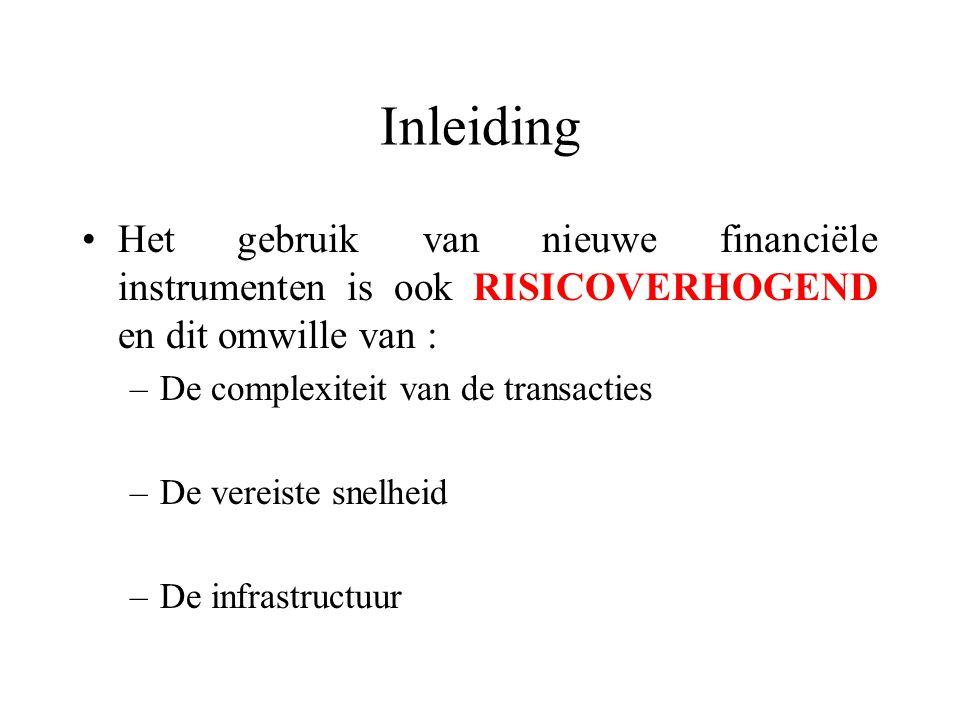 Inleiding Het gebruik van nieuwe financiële instrumenten is ook RISICOVERHOGEND en dit omwille van :