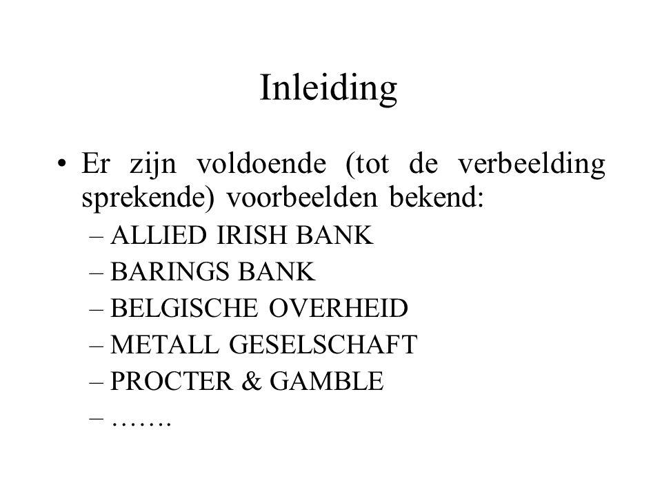 Inleiding Er zijn voldoende (tot de verbeelding sprekende) voorbeelden bekend: ALLIED IRISH BANK. BARINGS BANK.