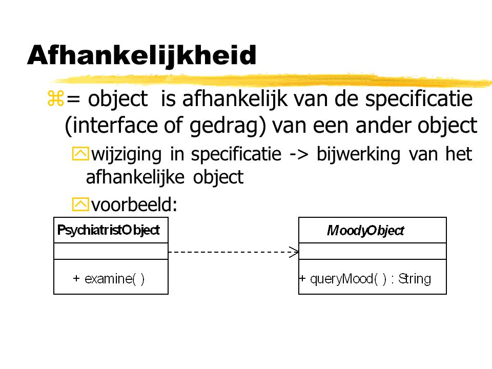 Afhankelijkheid = object is afhankelijk van de specificatie (interface of gedrag) van een ander object.