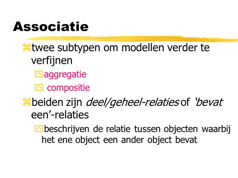 Associatie twee subtypen om modellen verder te verfijnen