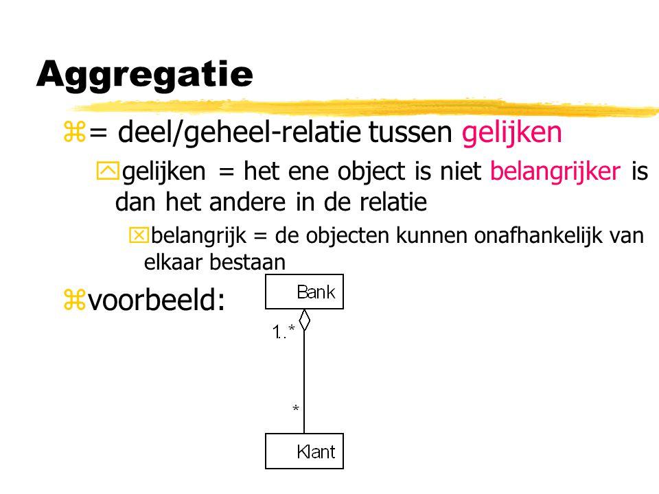 Aggregatie = deel/geheel-relatie tussen gelijken voorbeeld: