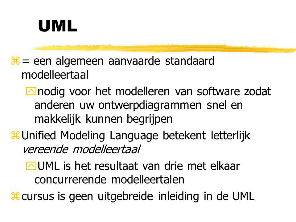 UML = een algemeen aanvaarde standaard modelleertaal