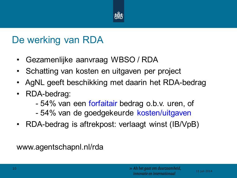 De werking van RDA Gezamenlijke aanvraag WBSO / RDA