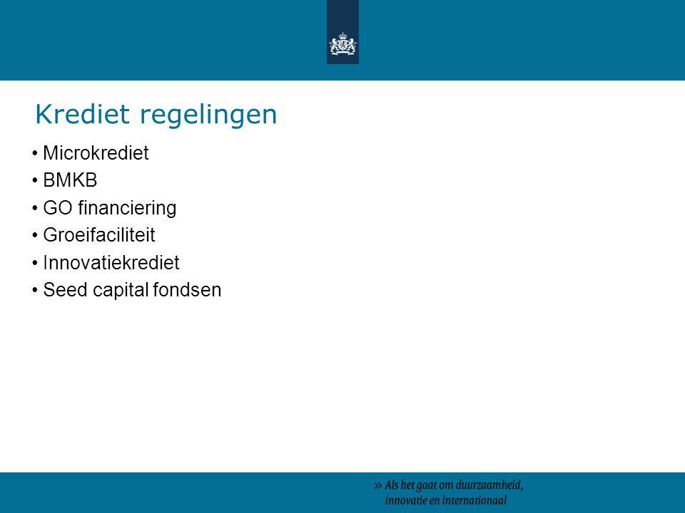 Krediet regelingen Microkrediet BMKB GO financiering Groeifaciliteit
