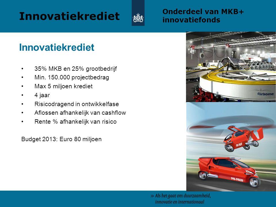 Innovatiekrediet Innovatiekrediet Onderdeel van MKB+ innovatiefonds