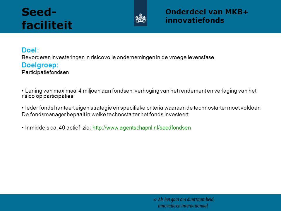 Seed-faciliteit Onderdeel van MKB+ innovatiefonds Doel: Doelgroep: