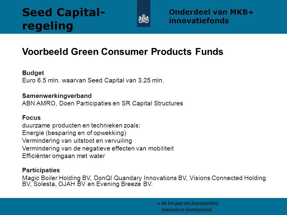 Seed Capital- regeling