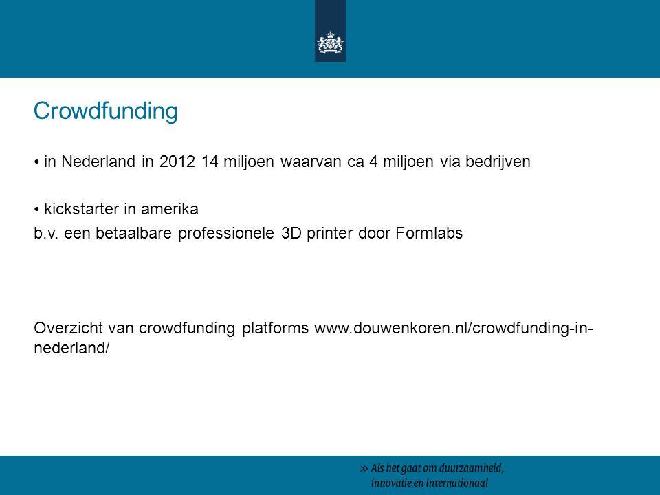 Crowdfunding in Nederland in 2012 14 miljoen waarvan ca 4 miljoen via bedrijven. kickstarter in amerika.
