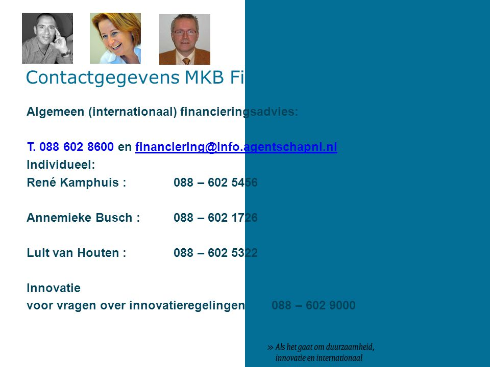 Contactgegevens MKB Financiering