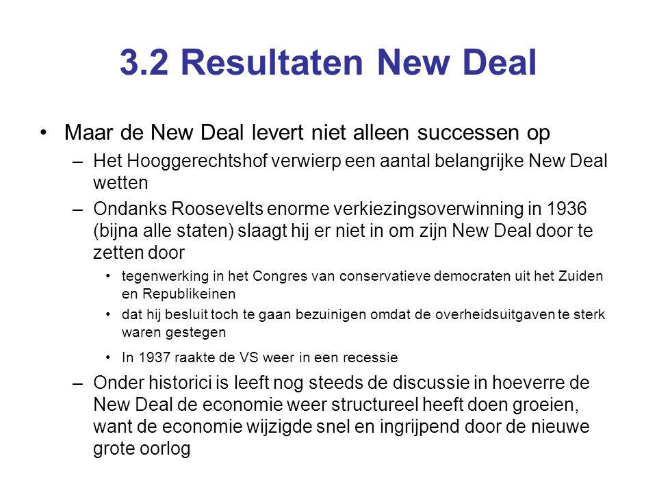 3.2 Resultaten New Deal Maar de New Deal levert niet alleen successen op. Het Hooggerechtshof verwierp een aantal belangrijke New Deal wetten.