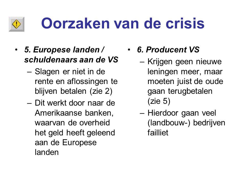 Oorzaken van de crisis 5. Europese landen / schuldenaars aan de VS