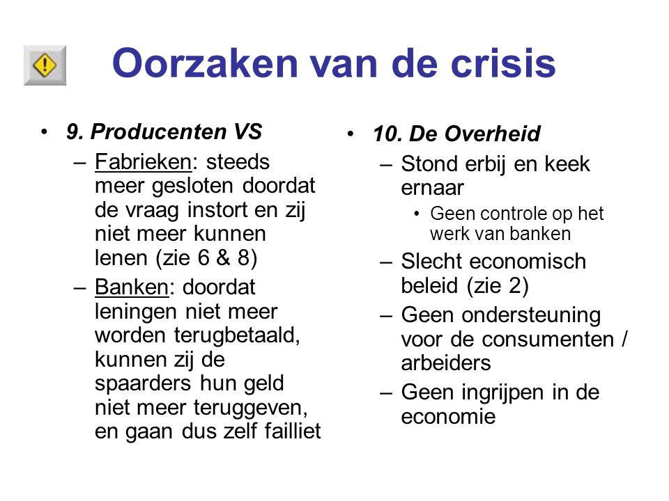Oorzaken van de crisis 9. Producenten VS 10. De Overheid