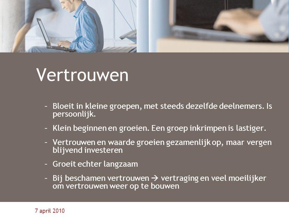 Vertrouwen Bloeit in kleine groepen, met steeds dezelfde deelnemers. Is persoonlijk. Klein beginnen en groeien. Een groep inkrimpen is lastiger.