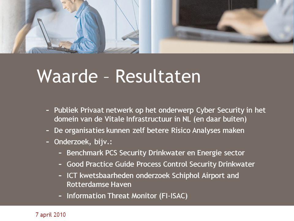 Waarde – Resultaten Publiek Privaat netwerk op het onderwerp Cyber Security in het domein van de Vitale Infrastructuur in NL (en daar buiten)