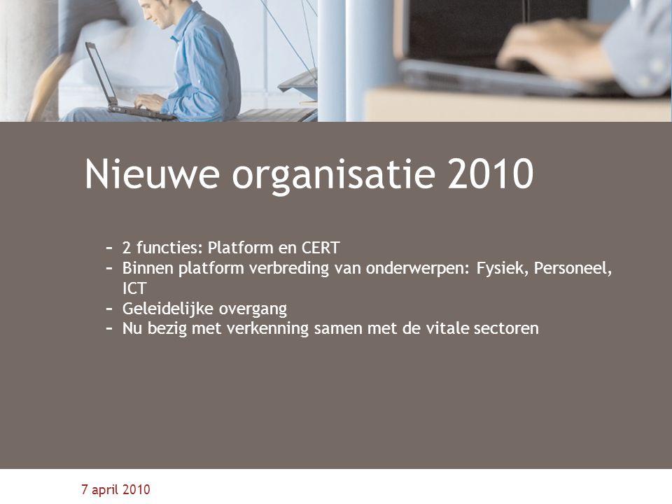 Nieuwe organisatie 2010 2 functies: Platform en CERT