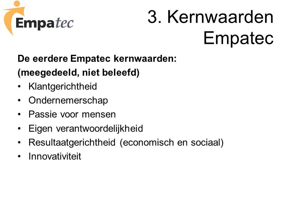 3. Kernwaarden Empatec De eerdere Empatec kernwaarden: