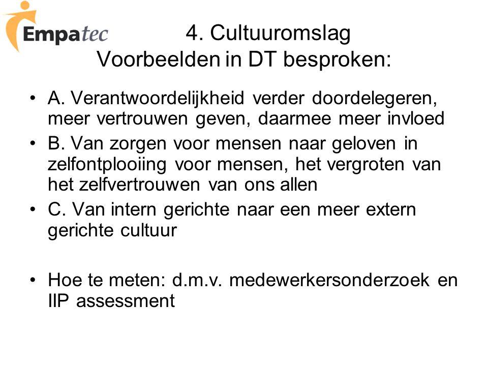 4. Cultuuromslag Voorbeelden in DT besproken: