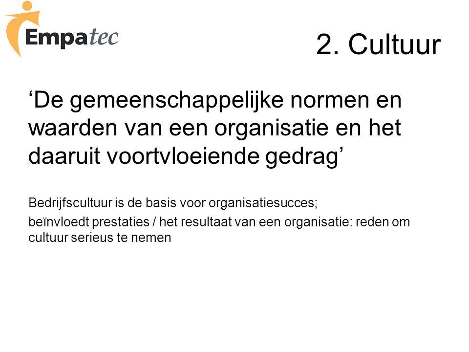 2. Cultuur 'De gemeenschappelijke normen en waarden van een organisatie en het daaruit voortvloeiende gedrag'