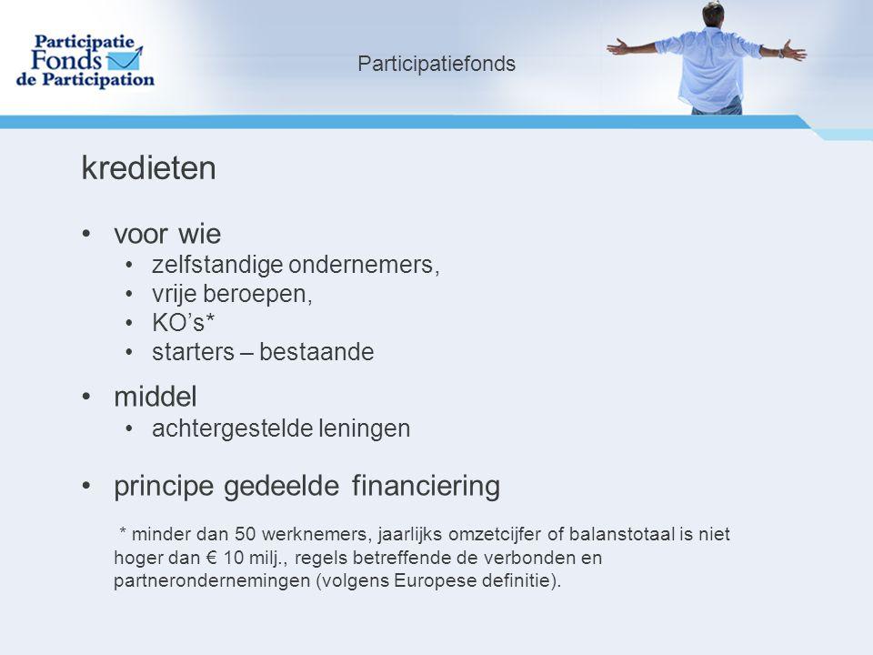 kredieten voor wie middel principe gedeelde financiering