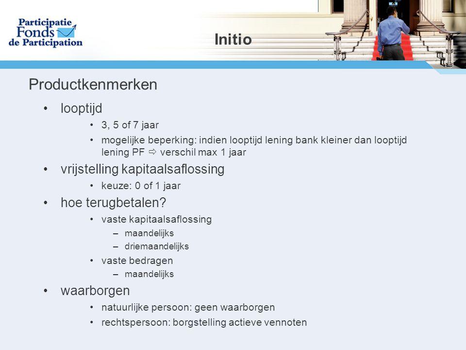Initio Productkenmerken looptijd vrijstelling kapitaalsaflossing